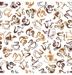 Seamless pattern with steaming coffee vector image