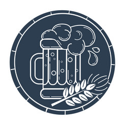 silhouette glass of beer and barley vector image