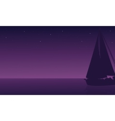 Silhouette of ship in sea vector