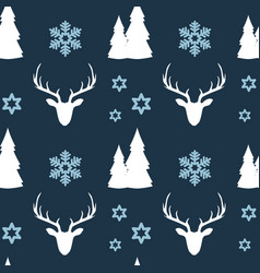 simple seamless christmas pattern deer forest vector image