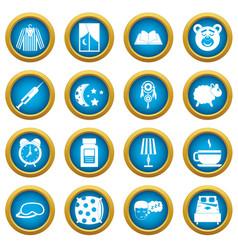 Sleep icons blue circle set vector