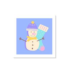 Snowman social media post mockup with abstract vector