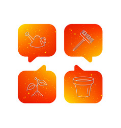 sprout plant watering can and pot icons vector image
