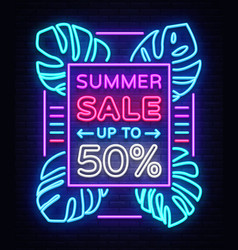 summer sale neon sign design template typography vector image