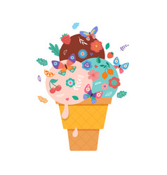 summer scene with ice cream cone sundae vector image