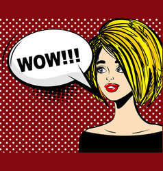 Surprised blonde pop art wow vector