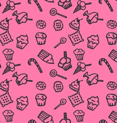 Sweets pink pattern vector image