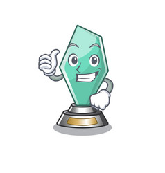 Thumbs up acrylic trophy isolated with mascot vector