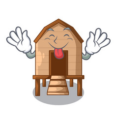 Tongue out chicken in a wooden cartoon coop vector