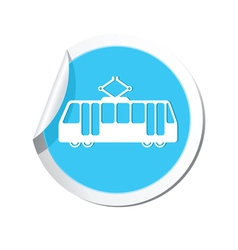 Tram icon round blue copy vector
