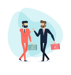 two businessman walking and high five vector image
