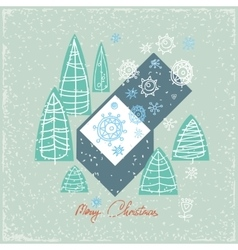 Vintage card with gift box Christmas trees and vector image