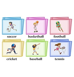 Words about sports on cards vector
