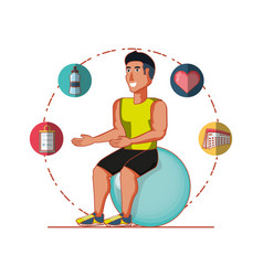 Young athlete training sport with healthy vector