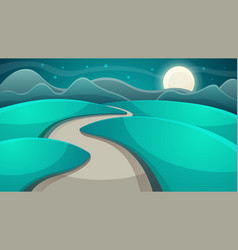 cartoon night landscape moon and cloud vector image vector image