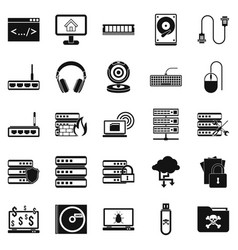 Command line icons set simple style vector