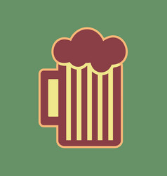 Glass of beer sign cordovan icon and vector