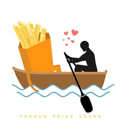 Lover french fries Man and fastfood and ride in vector image vector image