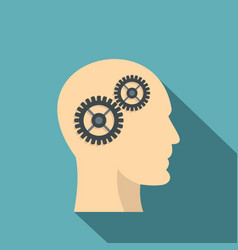 profile of the head with gears inside icon vector image