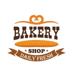 Bakery shop Daily fresh baked wheat baguette vector image