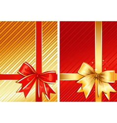 golden ribbon red ribbon two images vector image