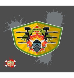 Paintball logo shield with wings Emblem Mortal vector image vector image