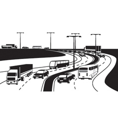 Passenger and cargo transportation on highway vector image vector image