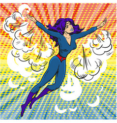 pop art comic superwoman character in clouds and vector image vector image