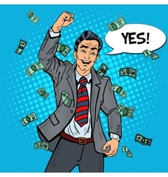 Pop Art Excited Businessman Celebrating vector image vector image
