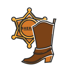sheriff badge and cowboy boot usa america travel vector image vector image