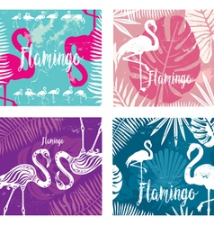 Summer posters set with flamingo vector