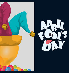 April fools day hat joker balloons celebration vector