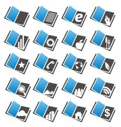 Book icons set and logo design concepts vector image