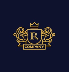 coat of arms letter r company vector image