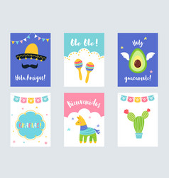 Fiesta mexican party invitations and cards vector