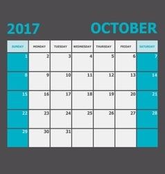 October 2017 calendar week starts on Sunday vector image vector image