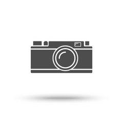 rangefinder camera icon isolated on white vector image vector image