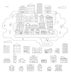 Real Estate City Building House Street Linear vector image