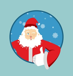 Santa claus thumbs up well and winks sign all vector