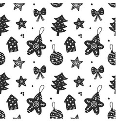 scandinavian christmas hand drawn seamless pattern vector image vector image