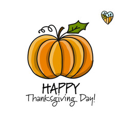 thanksgiving day card with pumpkin for your vector image vector image