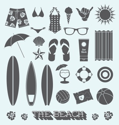 Under the Sun Beach Icons vector image vector image