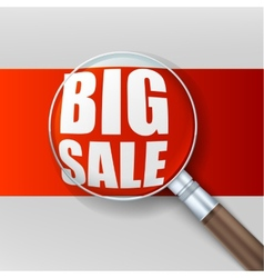Big sale Magnifying glass over red background vector image vector image