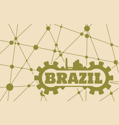 brazil word build in gear vector image vector image