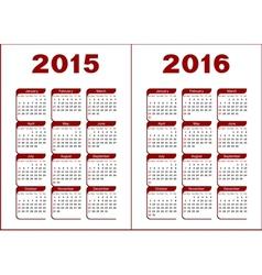 Calendar 2015 2016 vector image