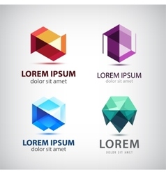 set of crystal 3d logos icons signs vector image vector image