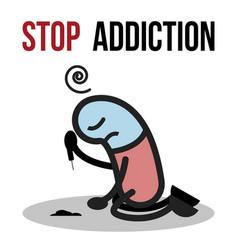 stop addiction cocaine conceptual vector image