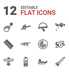 12 military icons vector