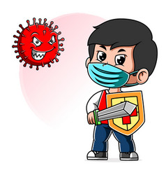 A boy fight corona virus sword and shield vector