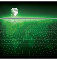 Abstract green background with earth map and moon vector image